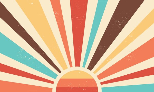 Vintage sun retro banner background. Colourful grunge sunburst. Vector illustration.