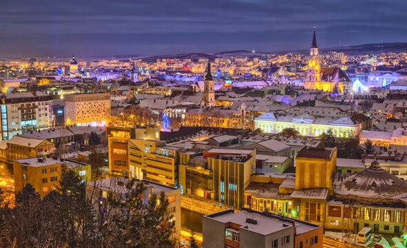 Aerial view over Cluj-Napoca at night