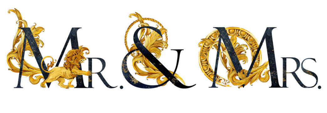 Mr. and Mrs. teplate design. vintage gold damask curl script. text. Luxory letters watercolor composition.