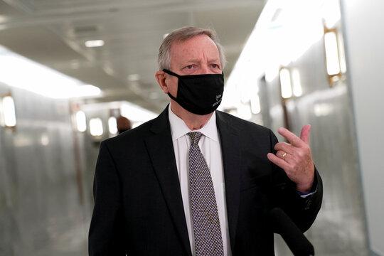U.S. Senate Minority Whip Durbin speaks to reporters on Capitol Hill in Washington