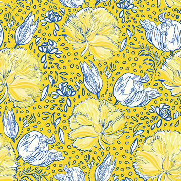 Retro antique tulip half drop pattern. Vintage country style hand drawn floral bouquet. Line art florals on cut out shape, vibrant yellow background. Elegant nature background. Perfect for home decor
