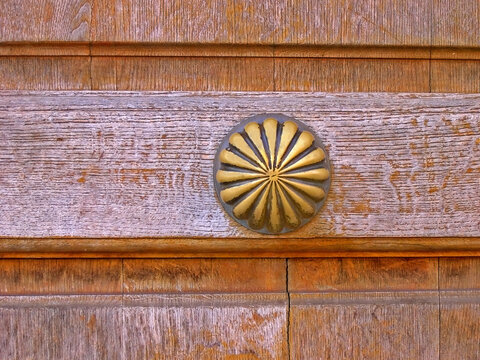 Italy, Marche, Ostra Vetere pleasant and attractive door decoration.