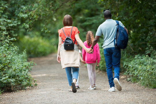 Family holding hands walking on path in woods