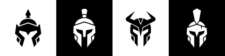 Medieval warrior logo set, spartan armor illustration, chinese and viking helmet