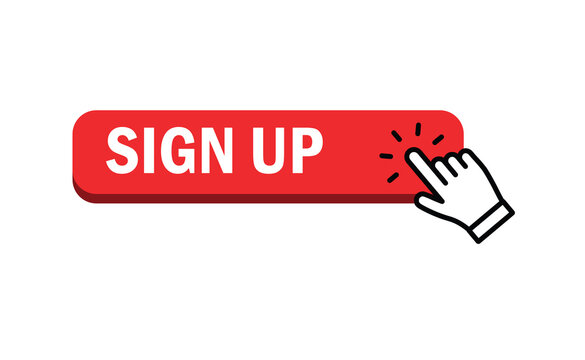 Sign up button with hand clicking icon.