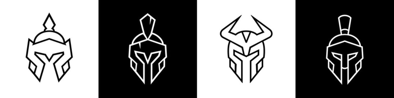 Knight helmet logo set, spartan icon design, chinese warrior symbol, viking head illustration