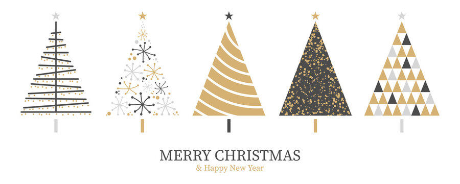 Christmas card background with abstract christmas tree decoration gold black isolated