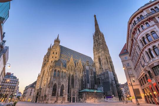 Vienna Austria sunrise city skyline at St. Stephen's Cathedral