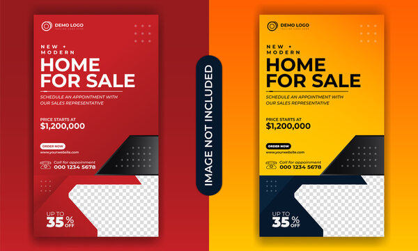 Real estate social media banner templates, Real estate Flyer templates, Home sale banner, Modern web banner templates, website ads banner, Facebook post, Instagram post and stories
