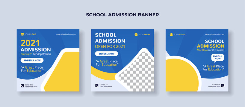 School admission banner for social media post template