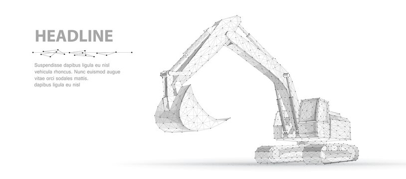 Excavator. Abstract polygonal wireframe vector 3d excavator isolated on white background.