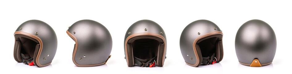Close up set of new grey vintage helmet. Studio shot isolated on white