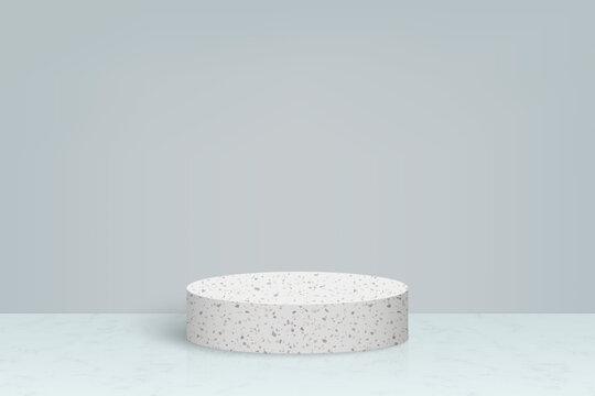 3d minimal scene with terrazzo marble stone podium, Cosmetic product presentation background