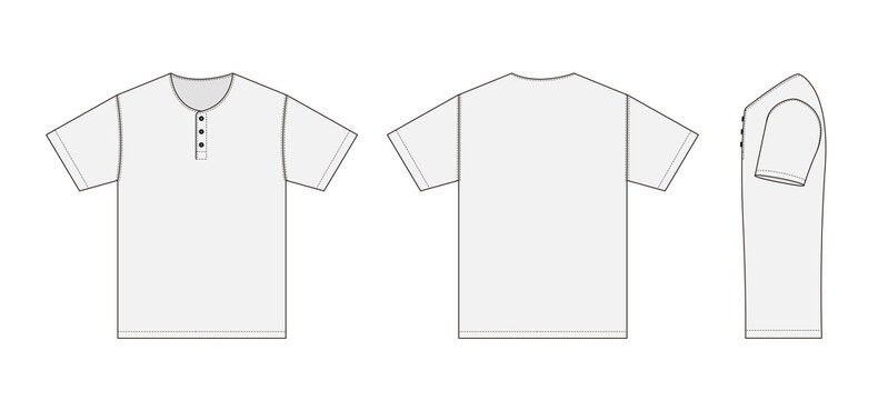 Short-sleeve shirt (Henry neck) template vector illustration with side view