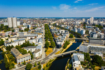 Top view of the city of Rennes. Brittany. France