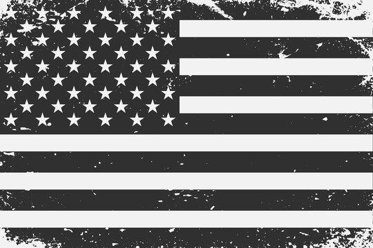 Grunge styled black and white United States flag. Old vintage background