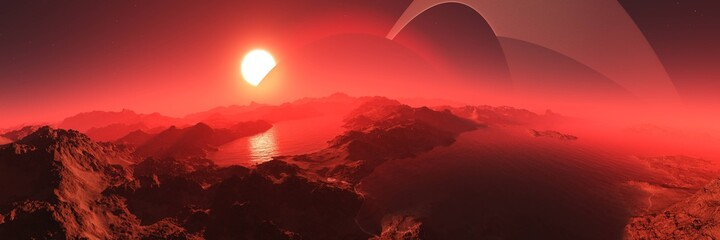 alien planet at sunset, alien landscape at the rising of a star