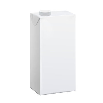 Realistic White carton pack For juice, milk and other drinks. Vector illustration. Template For Mockup Your Design.
