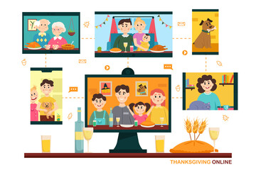 Thanksgiving online. People using video conference service for collective holiday virtual celebration, dinner online with family from home. New normal Thanksgiving celebrate. Vector illustration.