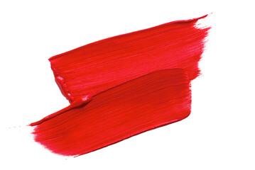 Fototapeta Paint Brush Strokes of red paint on white obraz