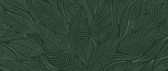 Photo sur Plexiglas Dinosaurs Tropical leaf Wallpaper, Luxury nature leaves pattern design, Golden banana leaf line arts, Hand drawn outline design for fabric , print, cover, banner and invitation, Vector illustration.