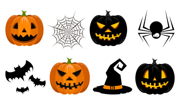 Set with pumpkin, spider web, bats and witch hat on white background. Halloween. For gift paper, textiles, clothes, social networks, wallpaper, prints, festive decor.