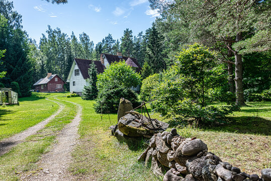 Small Käsmu village in northern Estonia. Old captain village. Village were alot of famous Estonian captains are from. Seaside small fisher village with wooden buildings.