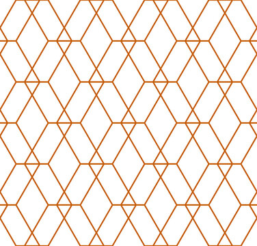 Interlocking grid of different sized diamond shapes in a repeating gold outline pattern on a white background, geometric vector illustration