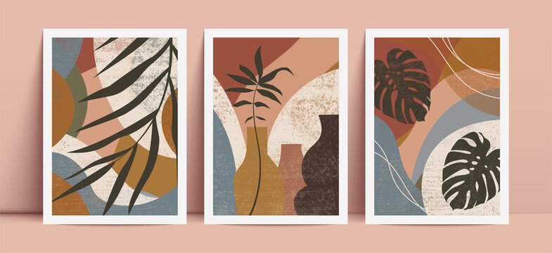 Poster set with geometric elements and tropical leaves. Abstract contemporary vector illustration