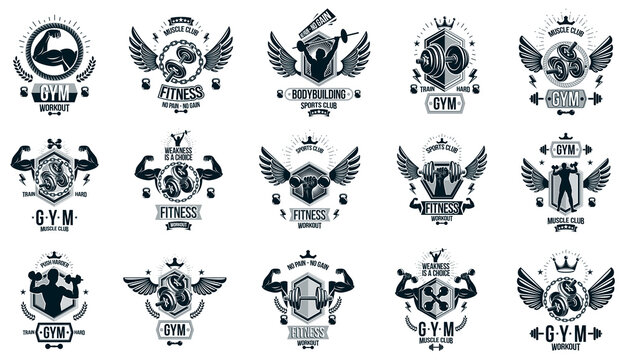 Fitness sport emblems logos or posters with barbells dumbbells kettlebells and muscle man silhouettes vector set, athletic workout active lifestyle theme, sport club or competition awards.