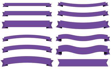 横長の様々な太さのタイトルリボンセット シンプルなフラットデザイン 紫