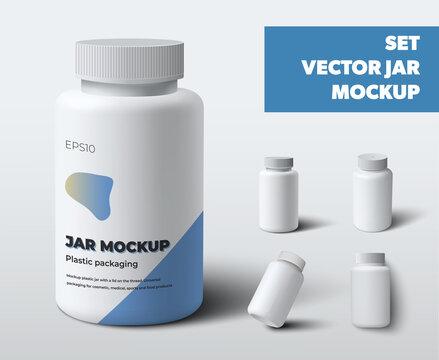 Mockup vector plastic jars with screw cap, white pill bottles, vitamin, for design presentation.