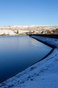 Carron Valley Reservoir Dam in winter