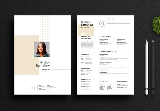 Clean and Simple Resume Layout with Golden Accents