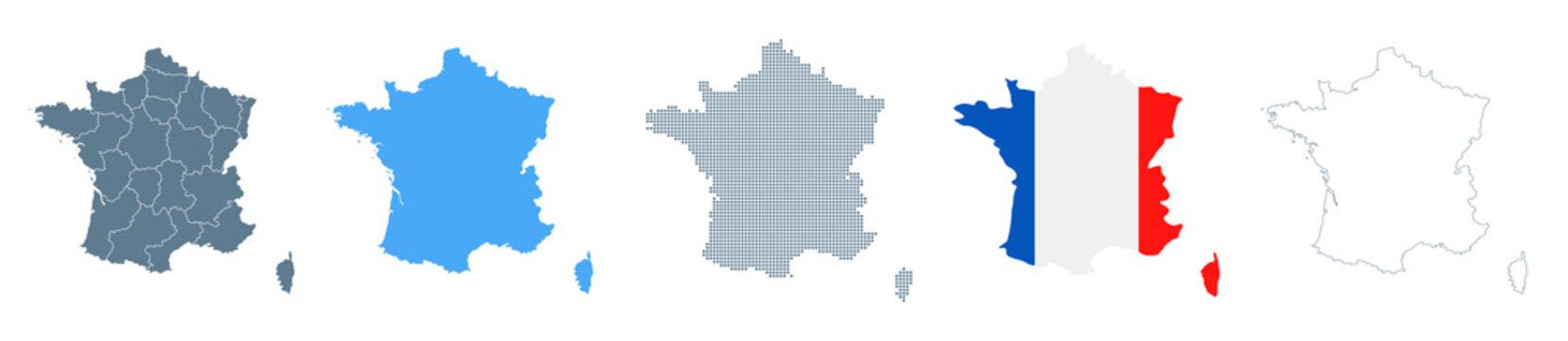 France Map Set - Vector Solid, Contour, Regions, Flag, Pixels