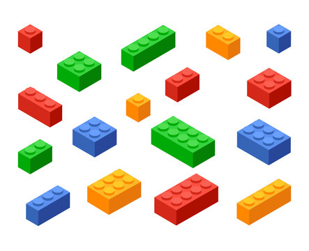 Block toy brick building icon. Isometric vector brick toy plastic set cube