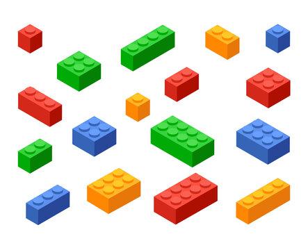 Block toy brick building icon. Isometric vector brick toy plastic set cube