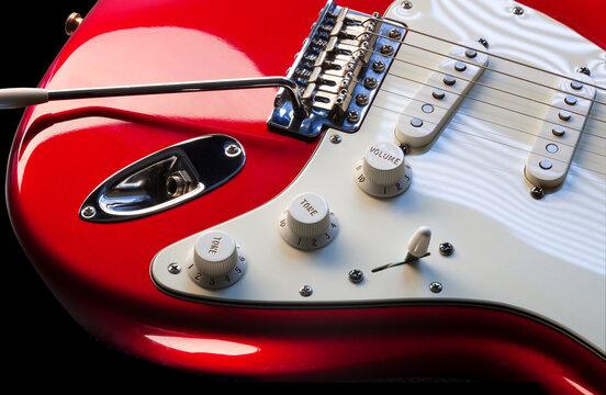 rote Elektro Gitarre close up