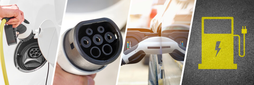 Electric Car Advertising Template - Banner Illustration with 4 Photos of Car and Electric Terminals