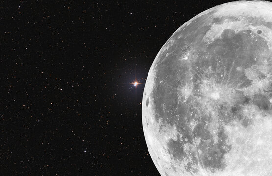 Composition of full moon and the double star Albireo also known as β Cygni. All two photo they are taken by telescope. At the background a lot of stars.