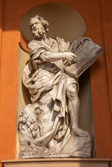 BOLOGNA, ITALY - MARCH 15, 2014: Baroque statue of Saint Mark the Evangelist from west portal of church Chiesa della Madonna di San Luca.