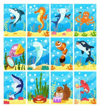 Cute smiling animals and underwater world. Undersea world animals.