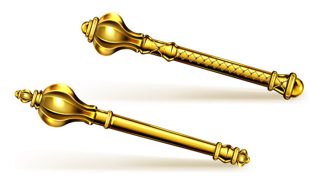 Golden scepter for king or queen, royal wand for Monarch. Gold sceptre monarchy medieval emperor symbol, imperial coronation rod or mace isolated on white background. Realistic 3d vector illustration