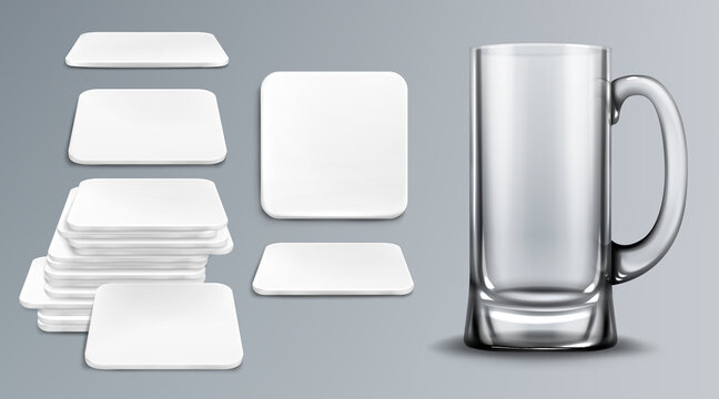 Beer cup and coasters. Empty glass tankard and blank cardboard mats for mug of square shape. Beermat, bierdeckel in top and different angles view isolated on grey background realistic 3d vector mockup