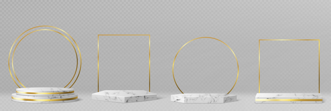 Marble pedestals or podiums with golden frames and decor, round and square borders on geometric empty stages, stone exhibit displays for product presentation, gallery platforms Realistic 3d vector set
