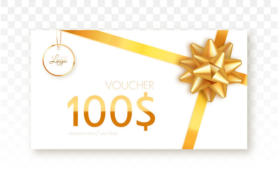 Gift voucher template isolated. Vector gift card with gold ribbon and bow.