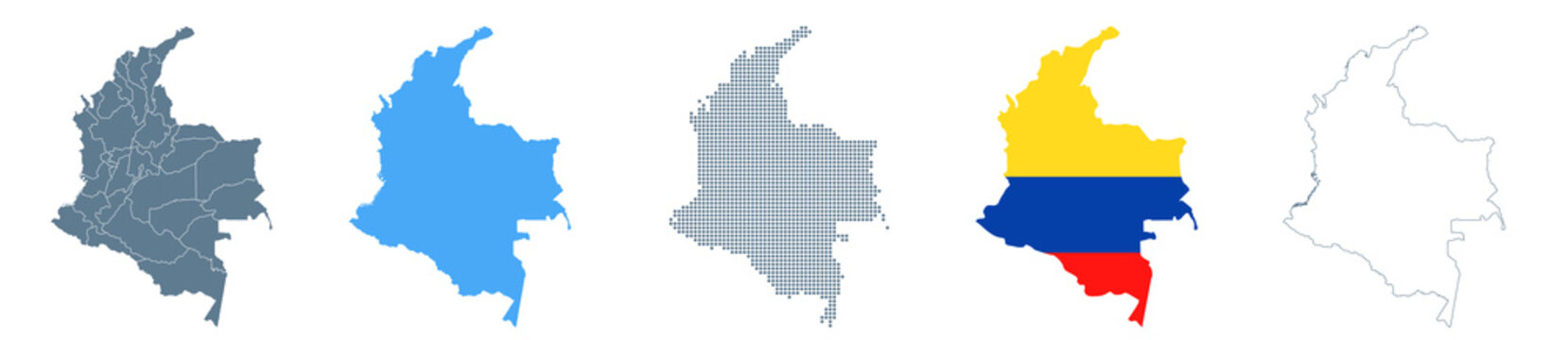 Colombia Map Set - Vector Solid, Contour, Regions, Flag, Pixels