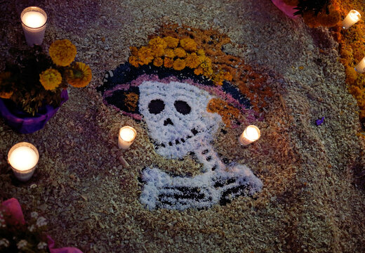 Salt skull Halloween day of the dead decoration