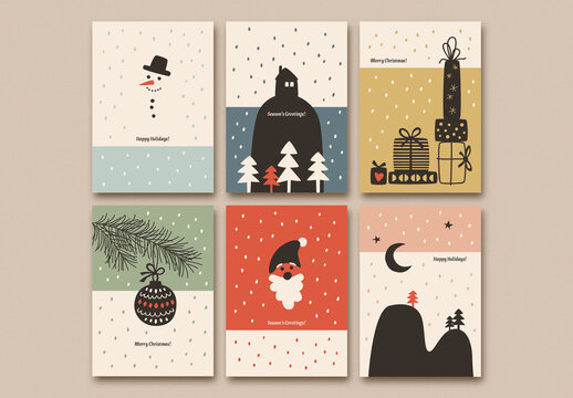 Holiday Card Layout Set with Illustrations