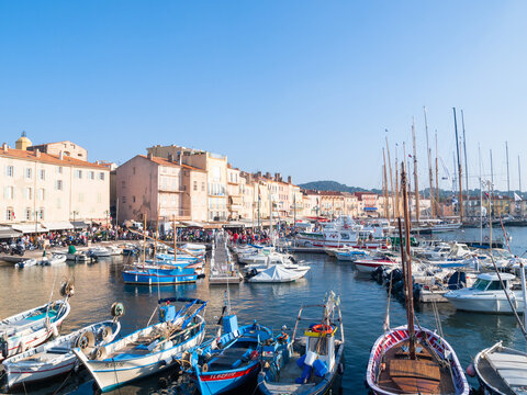 Boats in the old port of Saint-Tropez, French Riviera, Côte d'Azur, France
